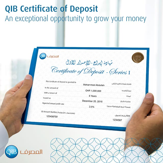 For The First Time In Qatar Qib Launches Certificates Of Deposit For