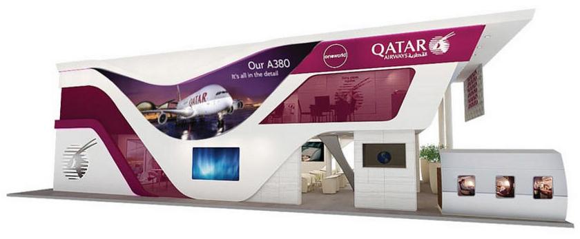 Exhibition Stand Design Qatar : Qatar airways to unveil new stand concept on opening day
